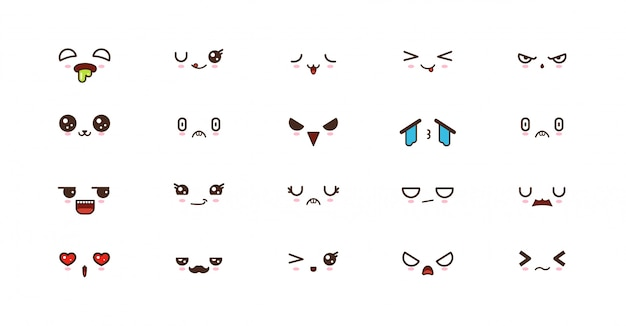 Kawaii smile emoticons. japanse emoji Premium Vector