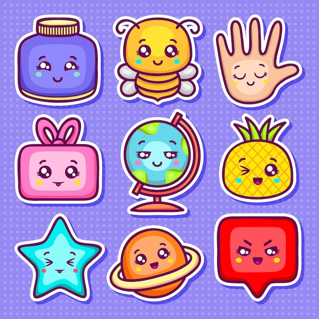 Kawaii sticker pictogrammen hand getrokken doodle kleuren Gratis Vector