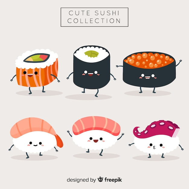 Kawaii sushi-collectie Gratis Vector