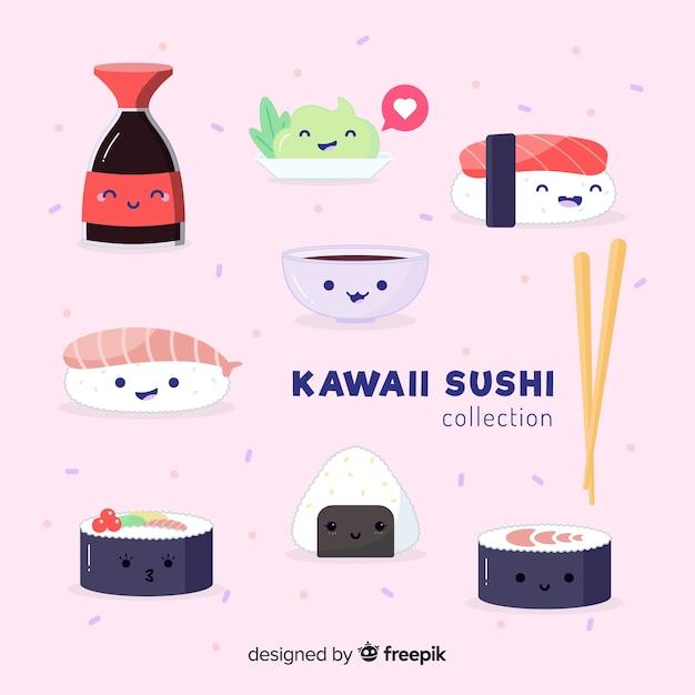 Kawaii sushi-collectio Gratis Vector