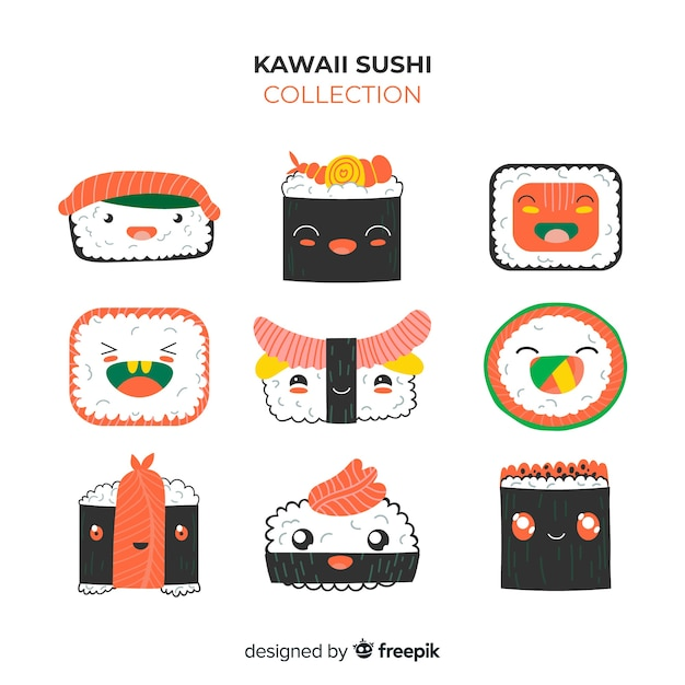 Kawaii sushi-stukjes pakket Gratis Vector