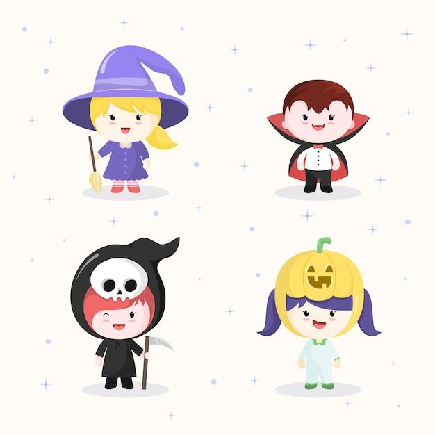 Kawaii-tekencollecties in halloween-kostuums. Premium Vector