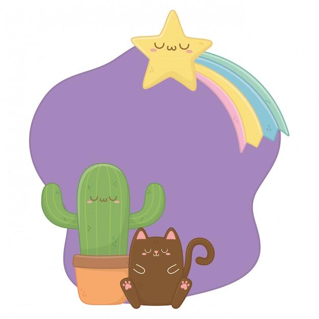 Kawaii van kat met cactus cartoon Premium Vector