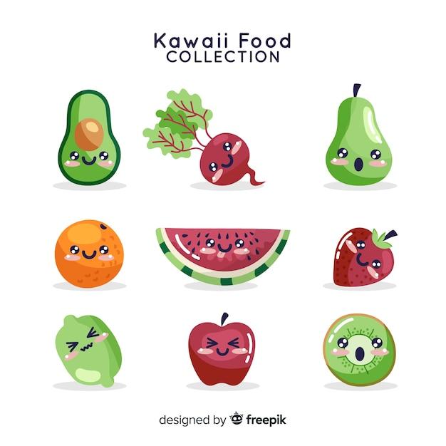 Kawaii voedselverzameling Gratis Vector