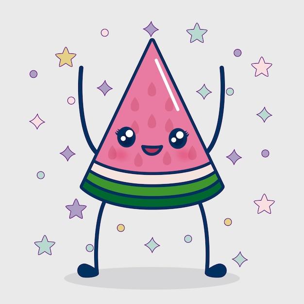 Kawaii watermeloen pictogram Gratis Vector