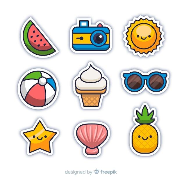 Kawaii zomer sticker collectie Gratis Vector