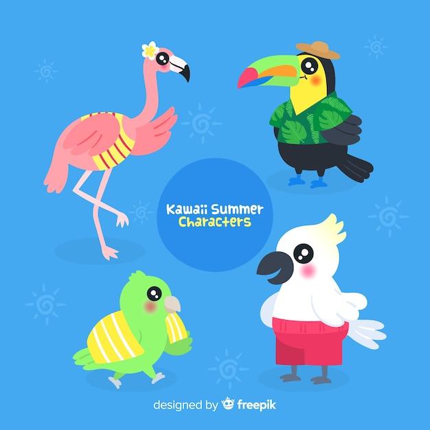 Kawaii zomer vogels instellen Gratis Vector