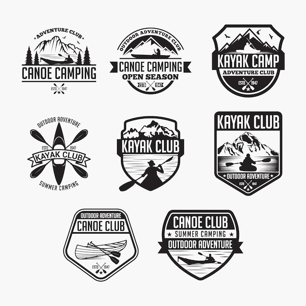 Kayak canoe badges Premium Vector