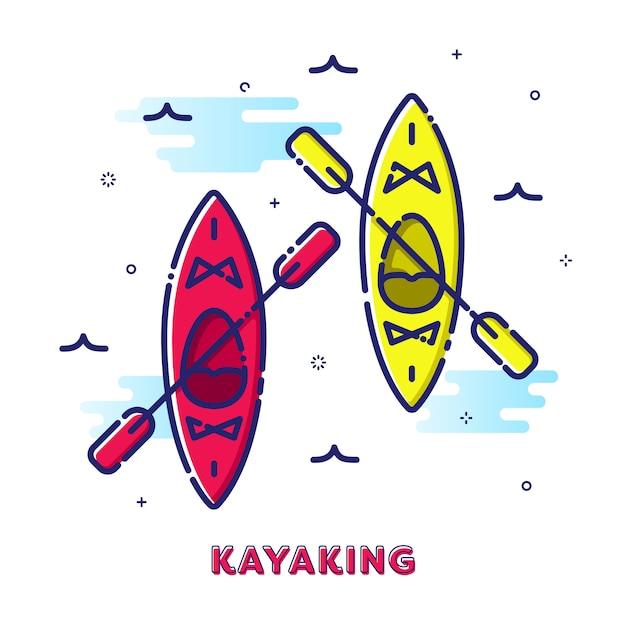 Kayaking sport illustratie Premium Vector