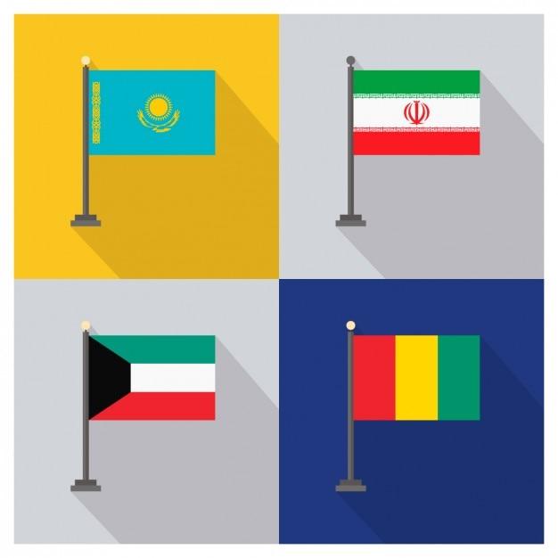 Kazachstan iran koeweit en guinea vlaggen Gratis Vector