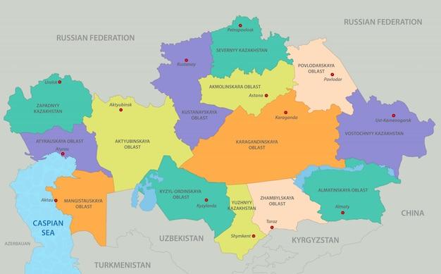 Kazachstan kaart Premium Vector