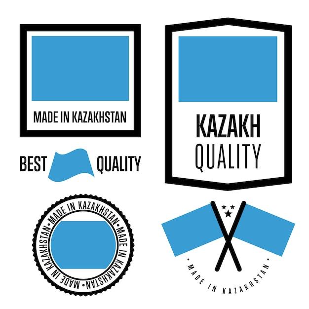 Kazachstan kwaliteitslabel set Premium Vector