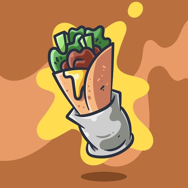 Kebab vectorillustratie Premium Vector