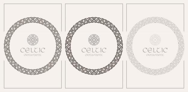 Keltische knoop gevlochten frame grens sieraad. a4-formaat Premium Vector