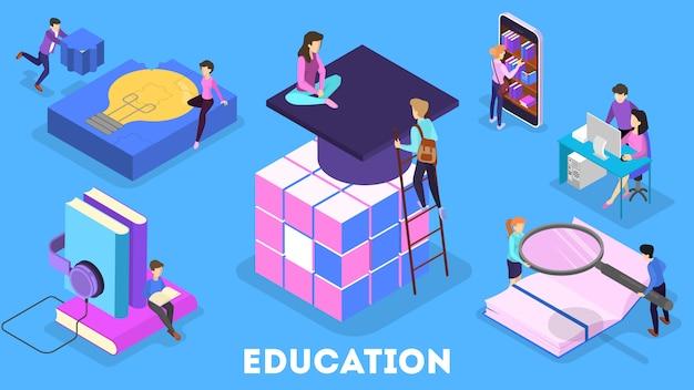 Kennis en onderwijsconcept. mensen die online leren op de universiteit. wetenschap en brainstormen. isometrische illustratie Premium Vector