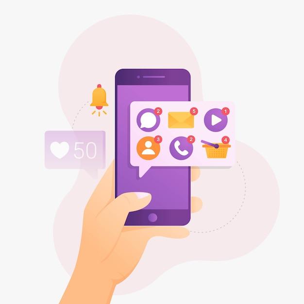 Kennisgeving van sommige applicaties op smartphone Premium Vector