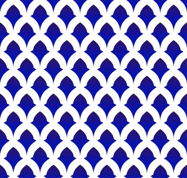Keramisch thais patroon, japan en china naadloze porselein blauwe en witte moderne achtergrond Premium Vector