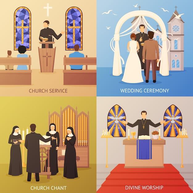 Kerk 2x2 ontwerpconcept Gratis Vector