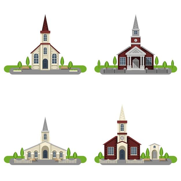 Kerk decoratieve platte pictogrammenset Gratis Vector