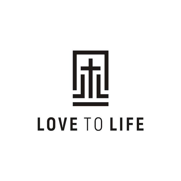 Kerk logo ontwerp Premium Vector