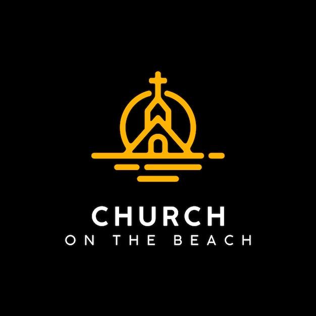 Kerk ont bij het sunset beach-embleemontwerp Premium Vector