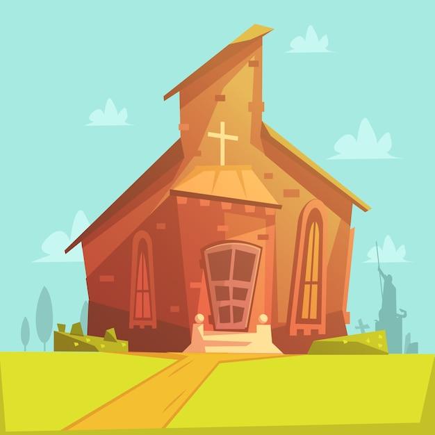 Kerk oude gebouw cartoon achtergrond Gratis Vector