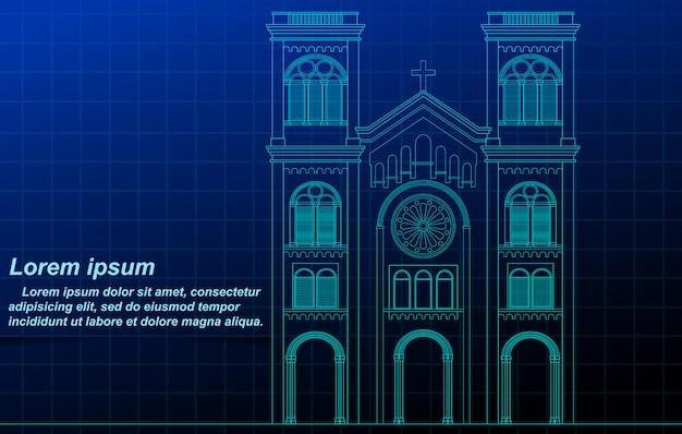 Kerk overzicht. Premium Vector