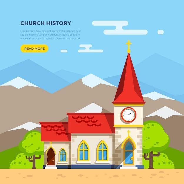 Kerk vlakke afbeelding Gratis Vector