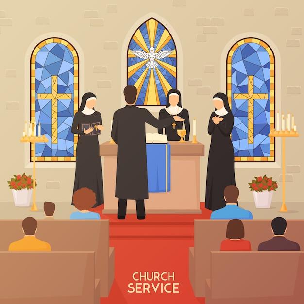 Kerkdienst religieuze ceremonie platte banner Gratis Vector