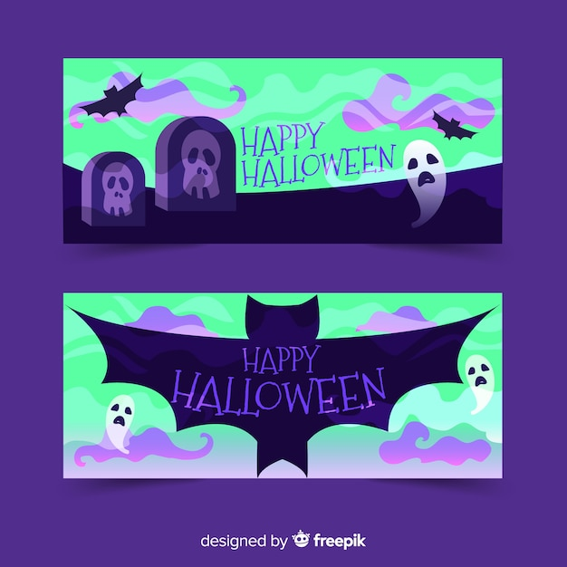 Kerkhof monsters halloween banners Gratis Vector
