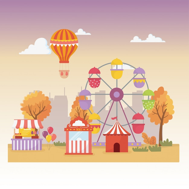Kermis carnaval stand tent ballonnen luchtballon reuzenrad stad recreatie Premium Vector