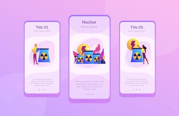 Kernenergie app-interfacemalplaatje. Premium Vector