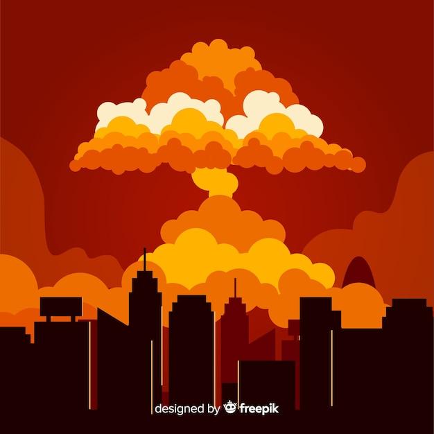 Kernexplosie in een stadsbeeldverhaalstijl Gratis Vector