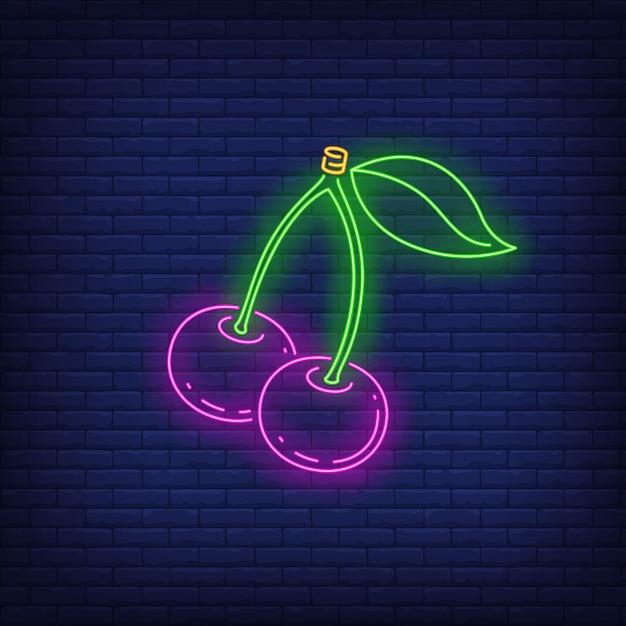 Kersen neon sign. Gratis Vector
