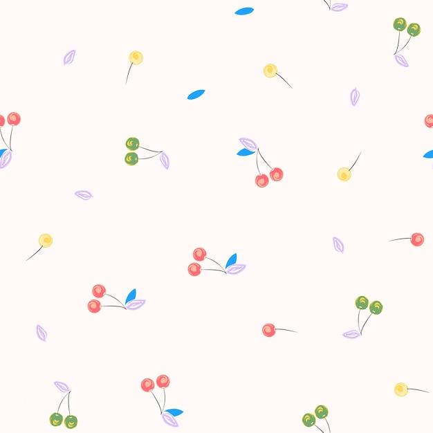 Kersen vector naadloos patroon. berry textielprint. Premium Vector