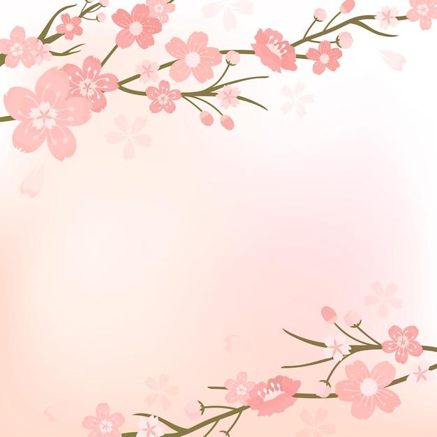 Kersenbloesem achtergrond illustratie Gratis Vector