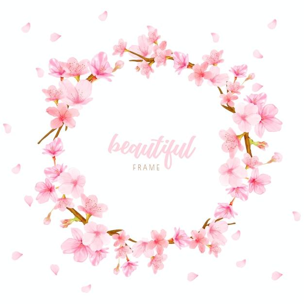 Kersenbloesem achtergrondkader met hand getrokken bloemen Premium Vector