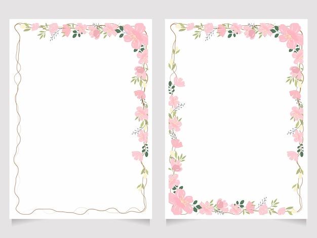 Kersenbloesem tak 5x7 uitnodigingskaart achtergrond sjabloon collectie Premium Vector