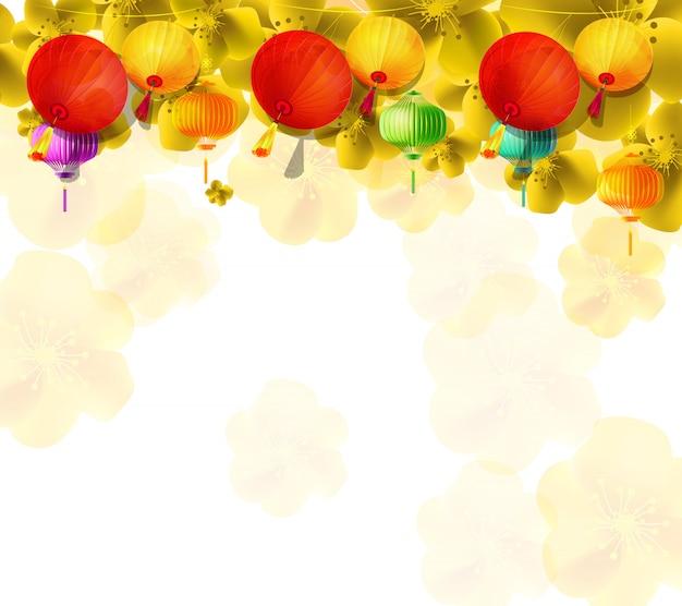 Kersenbloesem voor chinees nieuwjaar en nieuw maanjaar Premium Vector