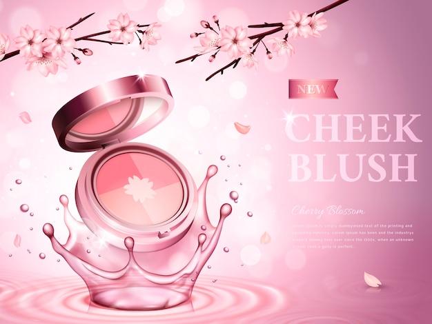 Kersenbloesem wang blush bevatte een cosmetisch etui, met romantische bloemen, roze achtergrond Premium Vector