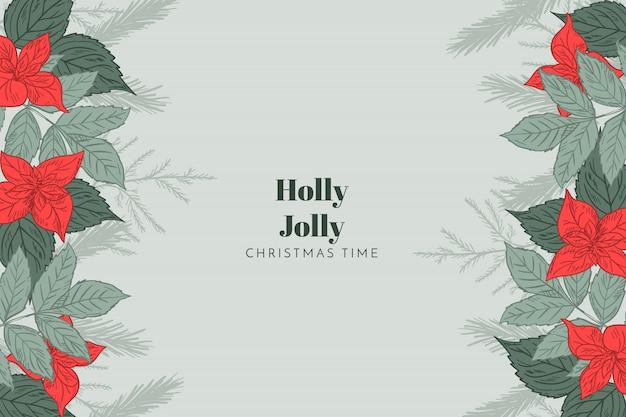 Kerst achtergrond holly jolly Gratis Vector