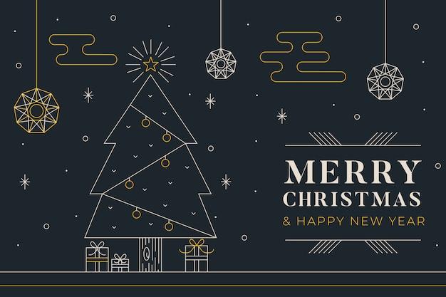 Kerst achtergrond in kaderstijl Gratis Vector