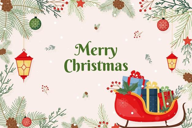 Kerst achtergrond in plat ontwerp Gratis Vector