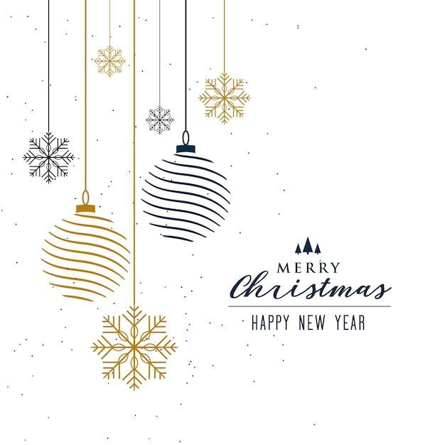 Kerst achtergrond met ballen en sneeuwvlokken decoratie Gratis Vector