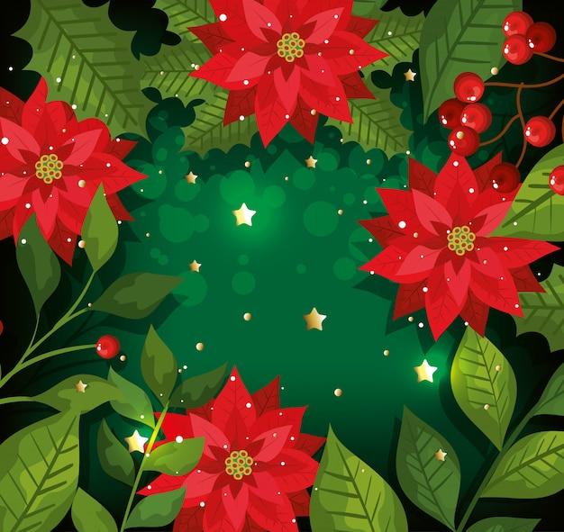 Kerst achtergrond met bloemen en decoratie Gratis Vector