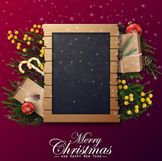 Kerst achtergrond met frame en decoraties Premium Vector