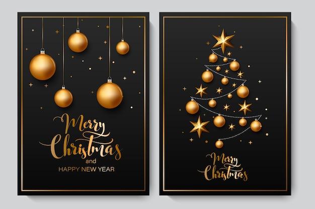 Kerst achtergrond met glanzende gouden ballen. Premium Vector