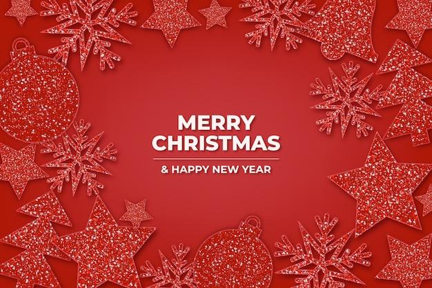 Kerst achtergrond met glitter effect thema Gratis Vector