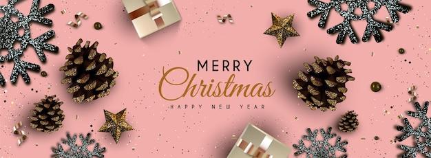 Kerst achtergrond met glitter effect Gratis Vector