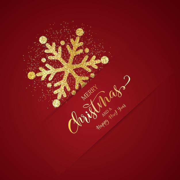 Kerst achtergrond met glitter sneeuwvlok ontwerp Gratis Vector